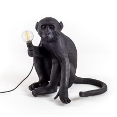Seletti Lámpara de pie Monkey Lamp Black edition 1 luz E14 H 32 cm