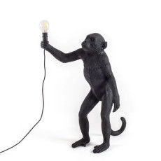 Seletti Lámpara de pie Monkey Lamp Black Edition 1 luz E14 H 54 cm