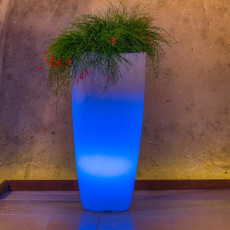 Monacis Vaso Luminoso STILO ROUND BRIGHT  LED MULTICOLOR CON BATTERIA H 70 CM