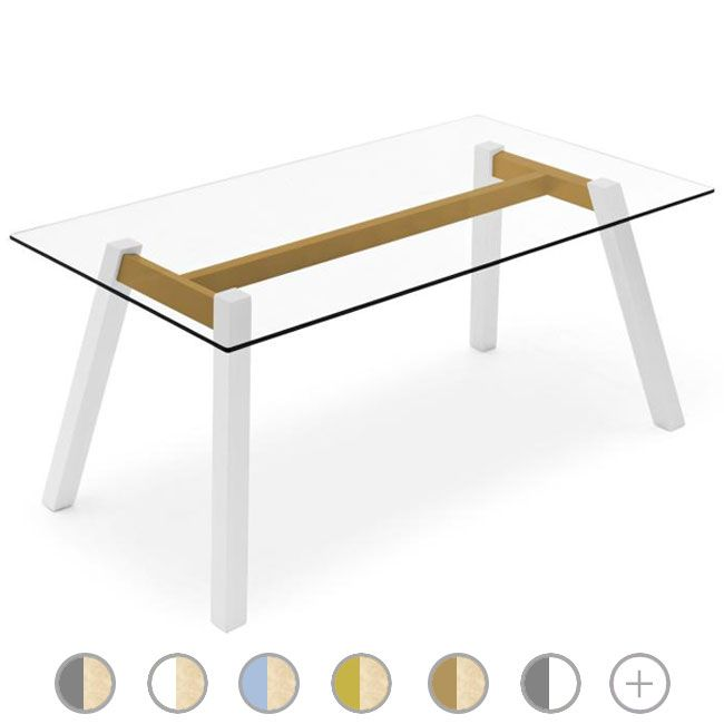 Connubia by Calligaris Mesa rectangular T-Table L 160 cm tapa de cristal